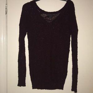 Maroon long sleeve V-neck sweater